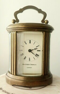 Rare Vintage Matthew Norman 8 Day Miniature Oval Carriage Clock Freepost Uk
