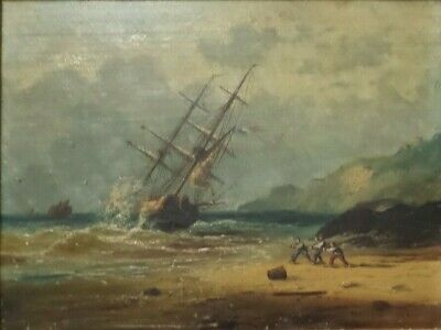 Antique 19th Cent. European Oil on Canvas Painting of a Wrecked French Ship
