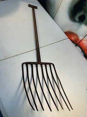 Original Antique Garden Farm Cast Iron Pitch Fork Rustic Home Shop Display