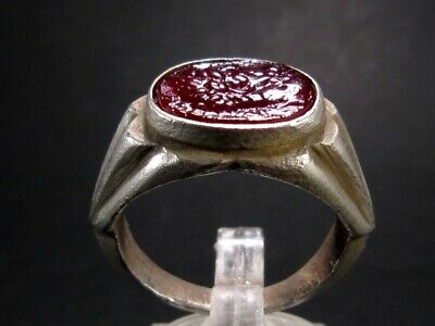 Attractive Roman Style Red Glass Cameo Ring, Hercules!!!