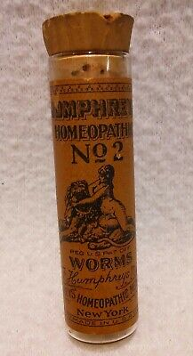 ANTIQUE HUMPHREYS HOMEOPATHIC No 2 WORMS WITH CORK STOPPER