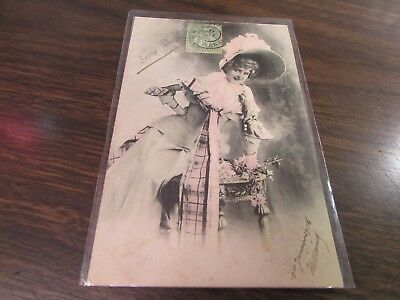 Antique - Gaby Deslys - Pastel Pink French   - Post Card - Very Good