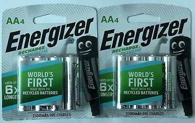 AA Energizer Rechargeable (2 X 4 Pack Batteries) 1.2V 2300mAh Brand New & Sealed