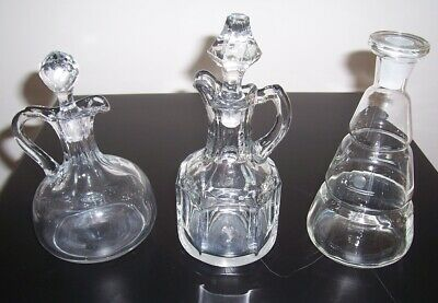 Antique Vintage Lot 3 Crystal Etched Glass Cruets W/Stoppers