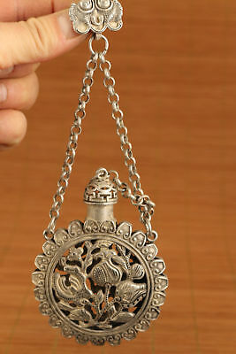 Chinese Tibet silver Copper hollow carved sun flower statue snuff bottle netsuke