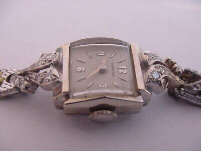 BEAUTIFUL 1960s 14K SOLID WHITE GOLD LADIES 12 DIAMONDS HAMILTON WATCH!