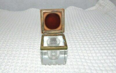 Vintage Cut Glass Ink Well  Rose Glass ? Hinged Lid