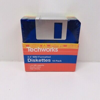 """Brand New - 10x Techwork High Density 3.5"""" Disk Diskettes 1.44MB IBM Formatted"""