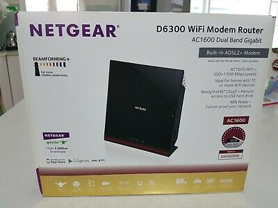 NETGEAR D6300 AC1600 ADSL2+ Wireless Dual Band Gigabit WiFi Modem Router