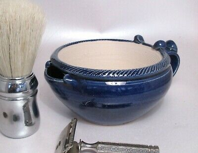 Shaving Scuttle Suribachi  Blue Hand Made/Crafted - Steve Woodhead Ceramics