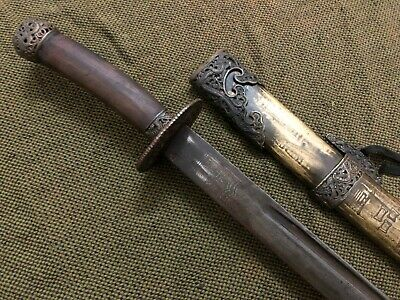 "Collectable Chinese Old ""Qing Dao""Sword Signed Sharp Blade Brass Sheath"