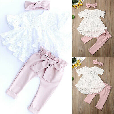 Newborn Baby Girl Clothes Lace T-shirt Hollow Tops Bow Pants Leggings Outfit Set