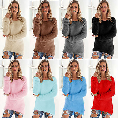 Women Winter Fleece Fluffy Sweater Jumper Ladies Warm Solid Pullover Tops Blouse