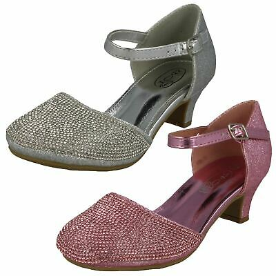 H3R082 Spot On Girls Mid Heel Buckle Ankle Strap Glittery Diamante Party Shoes