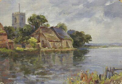 River View with Church and Barns – Original early 20th-century oil painting