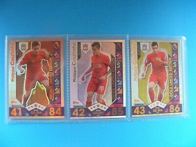 2016/17 Match Attax PHILIPPE COUTINHO Gold,Silver & Bronze Limited Edition Cards
