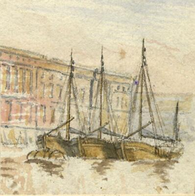 Shrimpers Boats, Custom House, Thames – Original 19th-century watercolour