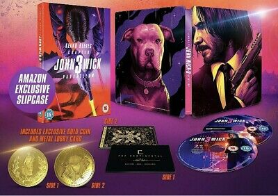 John Wick Chapter3 Parabellum 4K+Bluray Steelbook Coin+Slipcase+Metal Lobby Card