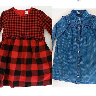 Girls Bundle 2 X Pretty Long Sleeve Gap Checked & Denim Polka Dot Dresses Age 5