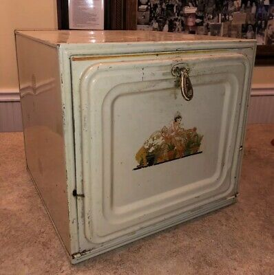 Vintage Metal Tin Enamel Hinged Door Bread Box Pie Safe Keeper Vented Antique