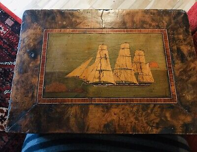 Victorian Fruit Wood Inlaid Sewing Box - Some Damage