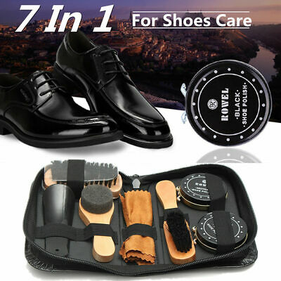 7 In 1 Shoe Boot Care Leather Shine Cleaning Brushes Set Kit Tool Neutral