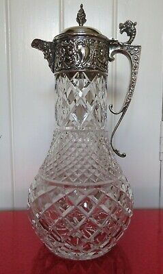 Silver Plate Cut Crystal Claret Jug Pitcher / Decanter w/ Bacchus Spout