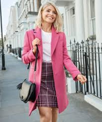Brand New Ex M&S Holly Willoughby Style Gorgeous Raspberry/Pink Coat Rrp £99