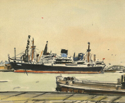 Steamship Liner in Docks Miniature – Mid-20th-century watercolour painting