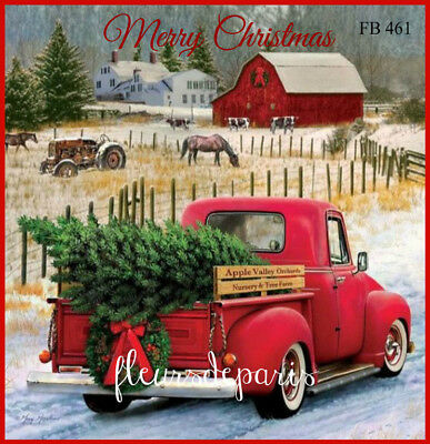 ~ Vintage Christmas Home for the Holidays Red Truck 1 Print on Fabric FB 461 ~