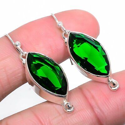 2.75ct Russian Chrome Diopside Earrings in Rhodium Overlay 925 Sterling Silver