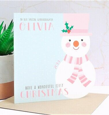 Baby Girls 1st First Christmas Card Niece Daughter Personalised Handmade