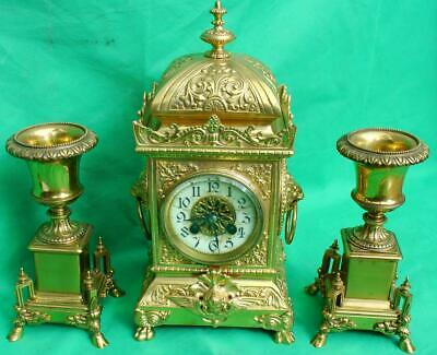 Japy Freres Antique French Rococo Garniture Urn Clock Set