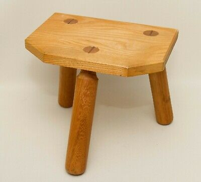 Small solid wood hand made vintage milking stool small table Country Decor