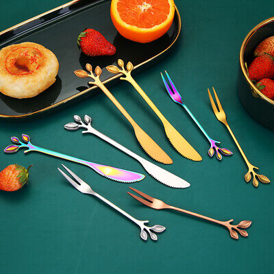 Creative Stainless Steel Leaves Pattern Branches Fruit Dessert knife And Fork