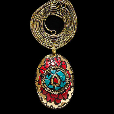 Blue Turquoise With Red Coral Gemstone Gold Plated Tibetan Pendant Chain 17-18""