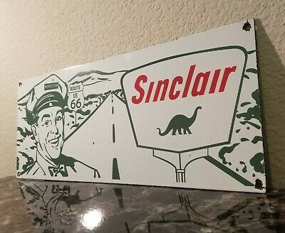 Vintage Sinclair Gasoline Porcelain Gas Route 66 Service Station Pump Plate Sign