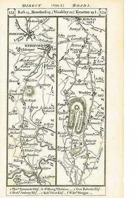 Ross Hereford Kineton Radnor Worcester Radnor Old Antique Road Map Print 1785
