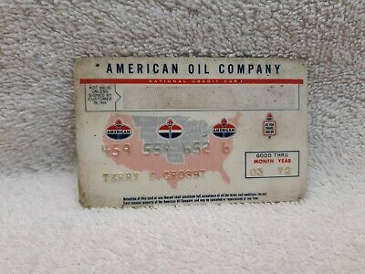 American Oil Company 1972 Vintage Credit Card charge card 03/72 gas station cars