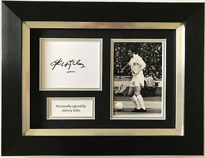 Johnny Giles Hand Signed Framed Photo Display Leeds United Autograph 1.