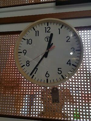 Vintage BT British Telecom large wall clock with glass face advertising office