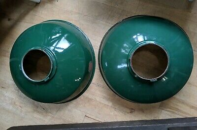 2 X Large Vintage Factory Industrial Enamel Green White Light Shades Rustic