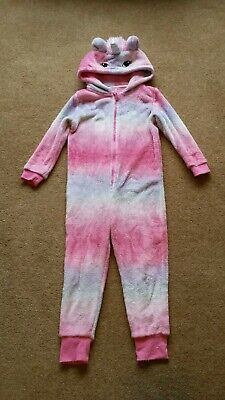 TU Unicorn All in One 4-5y Pink Furry with Horn and Detachable Tail VGC