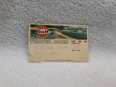 Vintage Gulf Oil Logo Travel Credit Card Gas Station & Car Graphic 1973