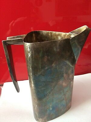 Rare Antique silver plate Jug Angular Innovative Machine Industrial age