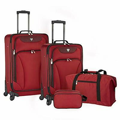 Travelers Club 4 Piece Augusta Luggage and Totes Set (Red)