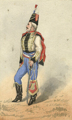 Albert A. Harcourt, French Hussar – Late 19th-century watercolour painting