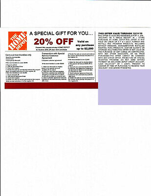 1 20% OFF HOME DEPOT Competitors Coupon at Lowe's exp 12/31/19