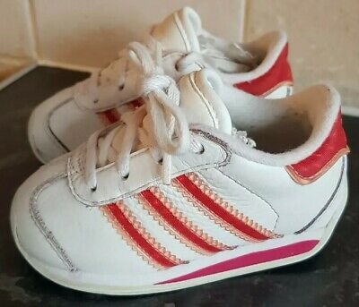 Girls Adidas Trainers - White / Red Shimmer - Infants Size UK 4K - VGC