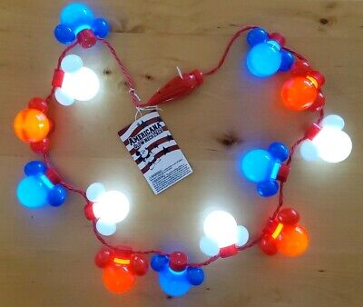 NWT Disney Parks AMERICANA Collection MICKEY MOUSE Icon Necklace Light-Up